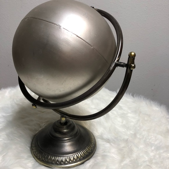 Spinning globe metal silver globe handcrafted